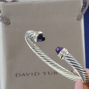 DAVID YURMAN Cable Cuff Bracelet Amethyst Gold 7mm